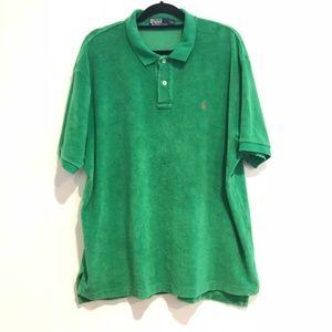 polo ralph lauren  green terry shirt L new large